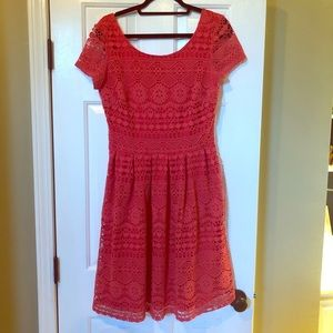 Dress Barn Coral Crochet Fit and Flare Dress
